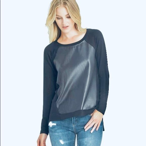 Michael Stars leather contrast T-shirt